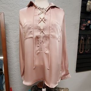 Silky lace-up blouse
